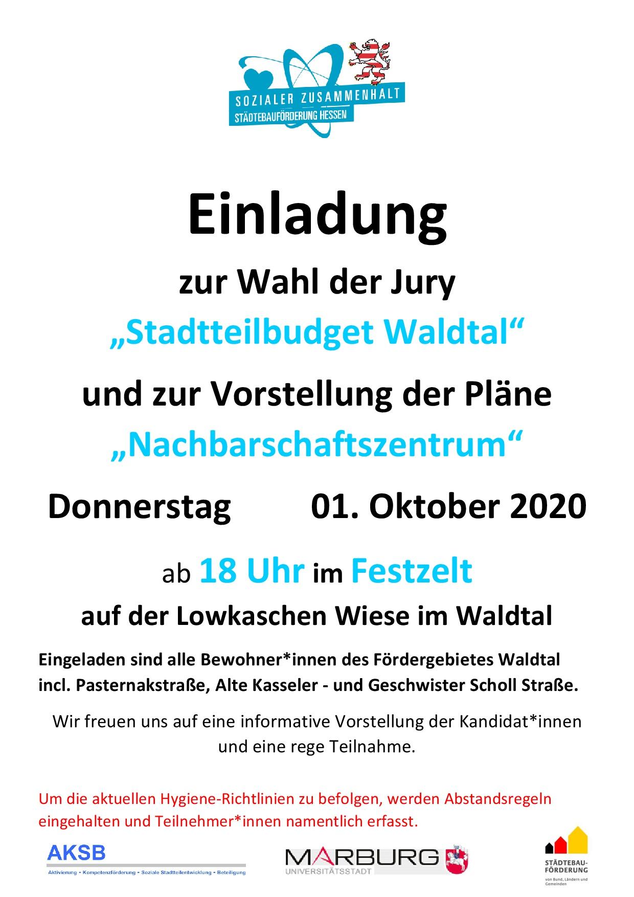 """Einladung zur Wahl der Jury  """"Stadtteilbudget Waldtal"""""""